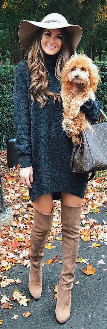 #winter #outfits blue knit sweater with brown knee-high boots