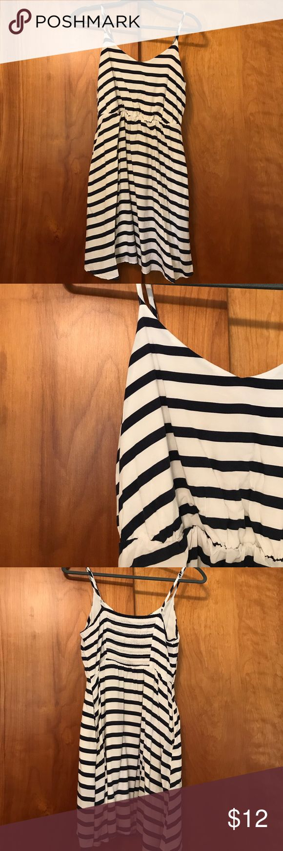 lauren conrad navy striped dress LC by lauren conrad dress. white with navy blue stripes. spaghetti straps, has pockets, and built in slip LC Lauren Conrad Dresses Mini