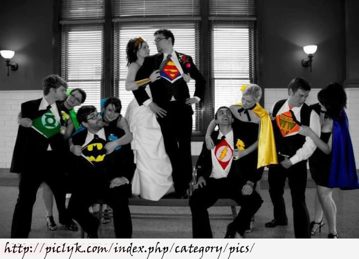 Super Hero's Wedding Photo. Love the black & white with color pop