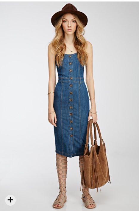 This retro look button down denim midi dress paired with modern