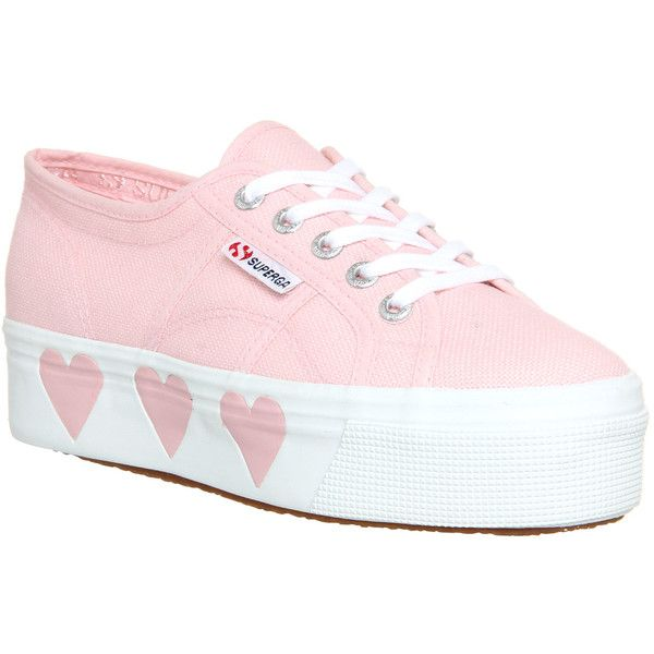 Superga 2790 (l) found on Polyvore featuring polyvore, women's fashion, shoes, sneakers, pink, tennis shoes, trainers, hers trainers, platform trainers and rubber sole shoes