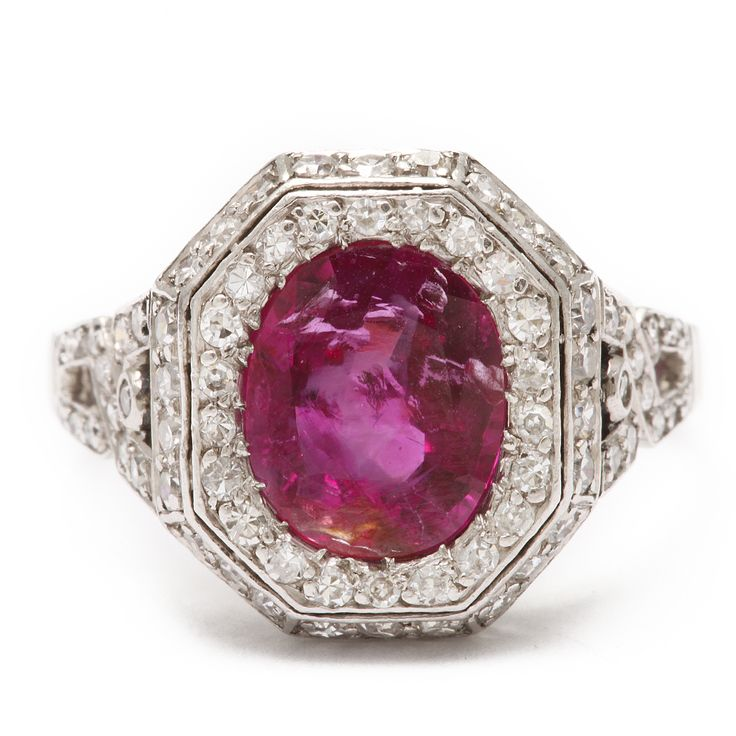 Art Deco Natural Burmese Ruby and Diamond Ring
