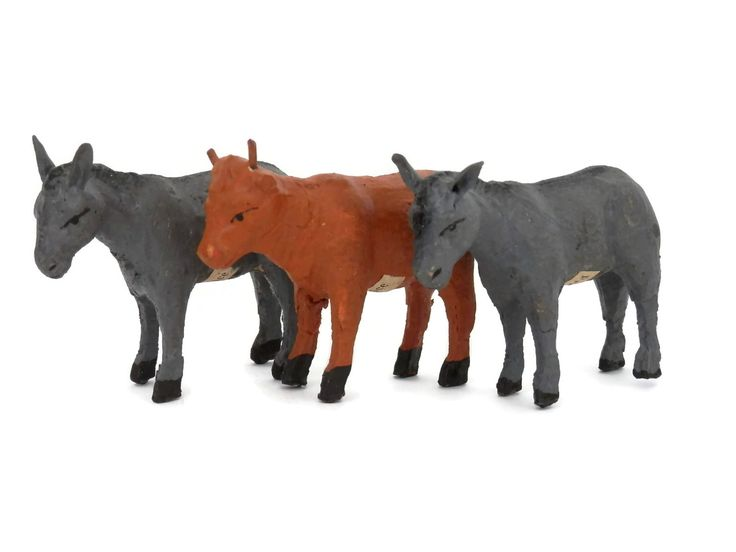Antique French Farm Animals Toy Cow and  2 Donkey w/France Labels Miniature Animals by bigbangzero on Etsy