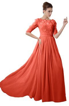e3d7c81401ca ColsBM Rene Living Coral Bridesmaid Dresses Boat Flower A-line Elastic  Elbow Length Sleeve Hawaiian