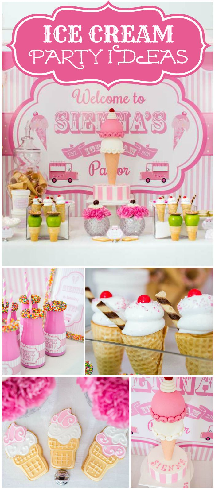 This pink and white ice cream party has green apple accents! See more party planning ideas at CatchMyParty.com!