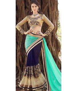 Vivously Blue Georgette Saree.