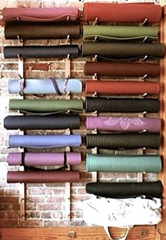 1 Storage Rack Set For 4 Yoga Mats Foam Rollers 2 Sets Hold 8 Mats Rollers 3 Sets Hold 12 Etc Ea In 2020 Yoga Studio Design Easy Wall Storage Rack