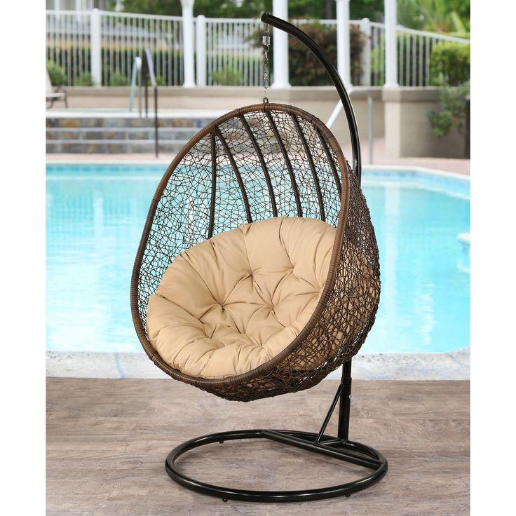 Abbyson Living Milania Espresso Wicker Outdoor Swing Chair