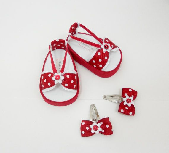 18 doll sandals and hair clips red with white polka by MegOriGirls, $10.00