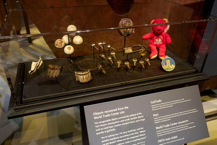 Objects recovered from the World Trade Center site are seen on display during a…
