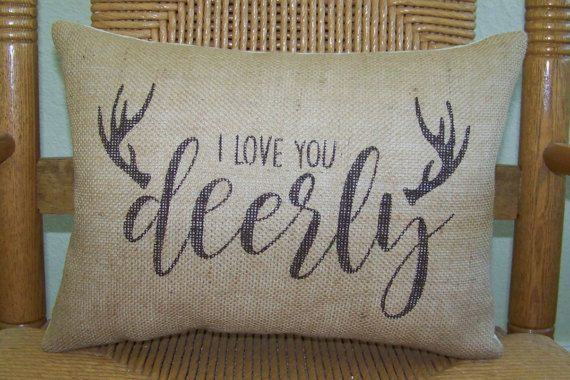 Antler pillow, I love you deerly pillow, Stenciled pillow, Cabin decor, Burlap Pillow, Deer antlers, Cabin pillow, FREE SHIPPING!