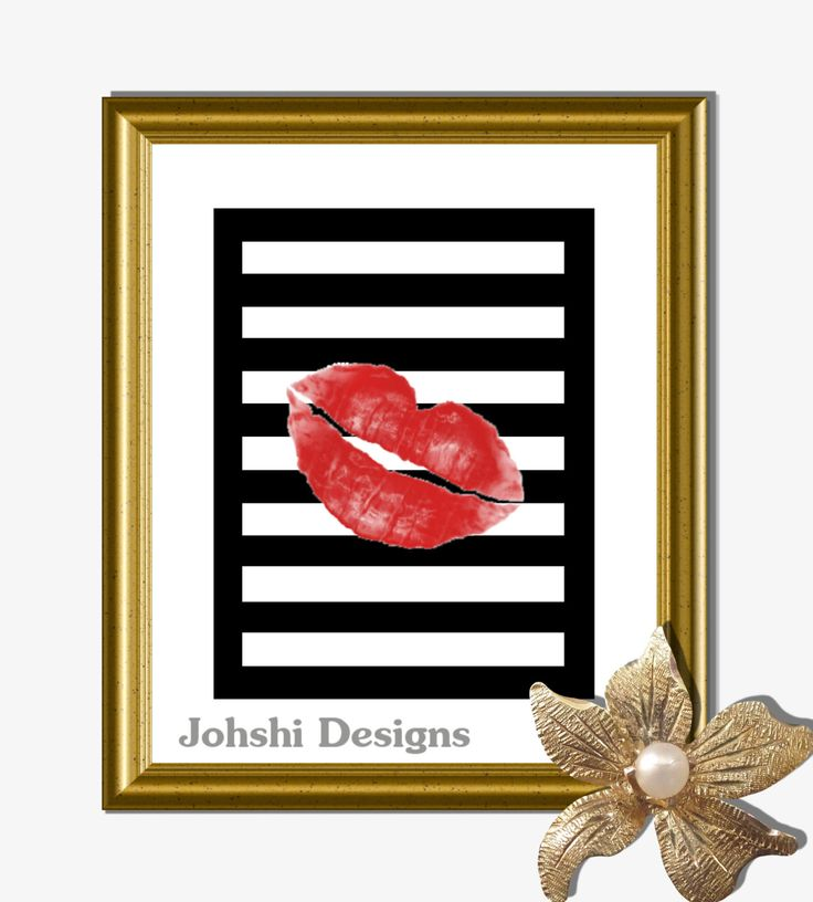 RED LIPS - on black - STRIPES - print -red on black. digital download - printable art.Wall decor by JohshiDesigns on Etsy