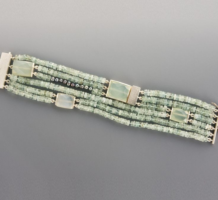 Bracelets | Janis Kerman Design  STERLING SILVER CRYSOPRASE AQUAMARINE BEADS CULTURED PEARL