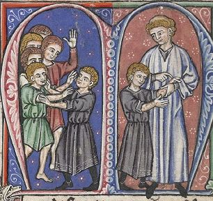 William of Tyre discovering young Baldwin IV's leprosy after he rough housed and afterward felt no pain.