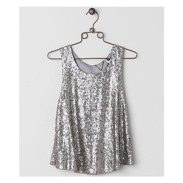 BKE Boutique Sequin Tank Top ($27) ❤ liked on Polyvore featuring tops, silver, sequin tank, bke boutique, white sequin top, sequin top and white singlet