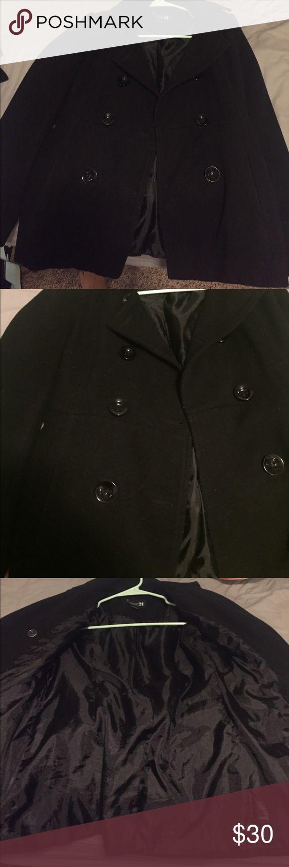 Black pea coat Forever 21 black pea coat jacket, very warm, very good condition Jackets & Coats Pea Coats