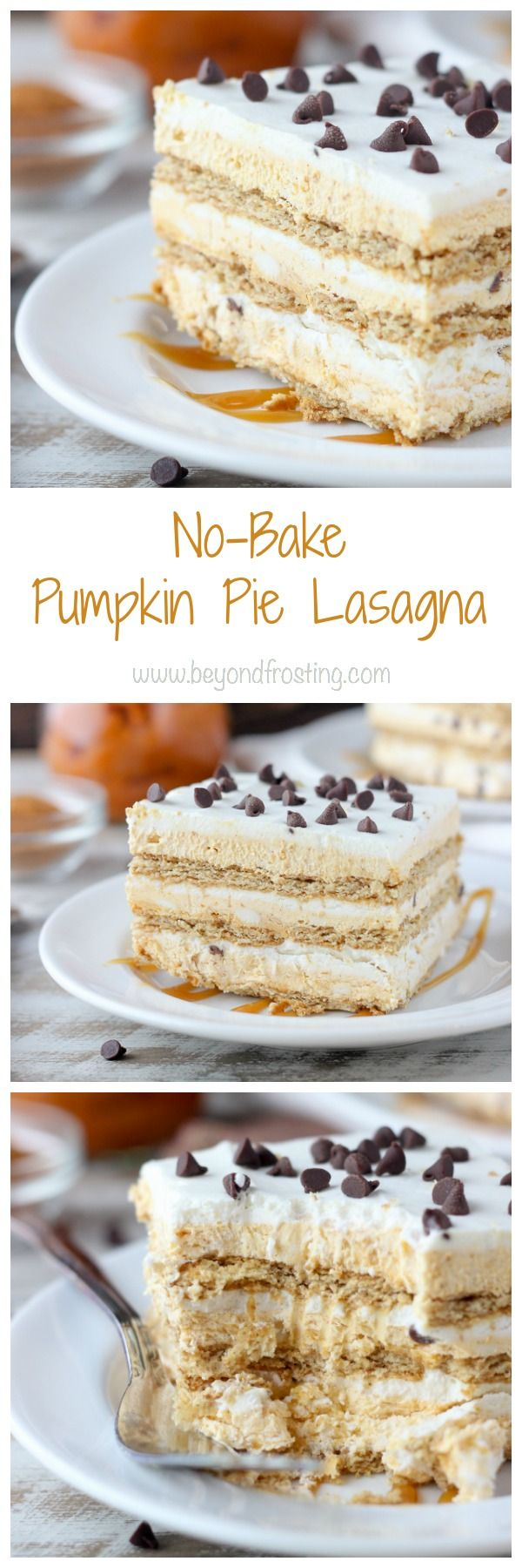 If you're looking for a quick holiday treat, try this no-bake Pumpkin Pie Lasagna. Layers of pumpkin mousse, whipped cream and graham crackers make this icebox cake the perfect fall dessert.