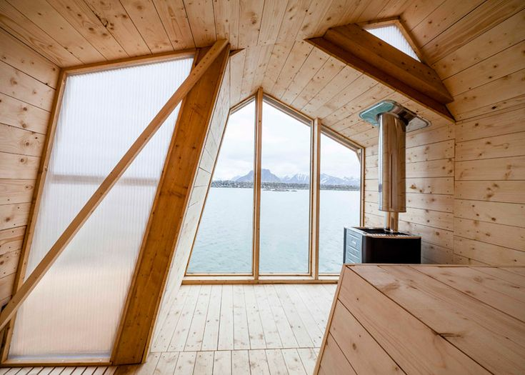 Students from the Oslo School of Architecture and Design have designed and built a seaside sauna made up of three wooden bands.