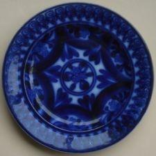 ANTIQUE FLOW BLUE POTTERY PLATE SPONGEWARE SCOTTISH STAFFORDSHIRE 1850-60'S