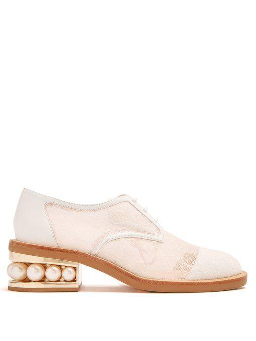 Nicholas Kirkwood Casati pearl-heeled lace derby shoes