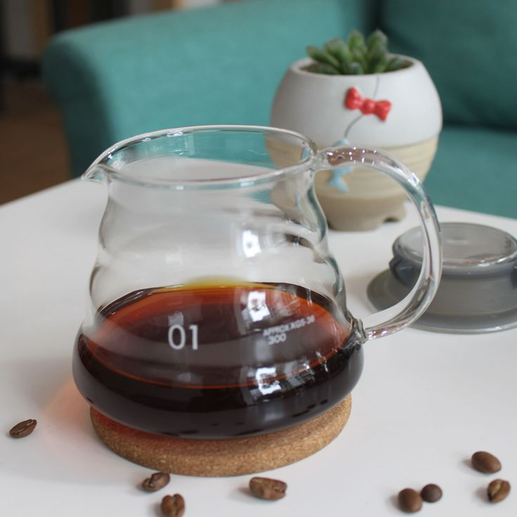 360ml glass hand drip coffee server,glass coffee pot coffee kettle for coffee maker