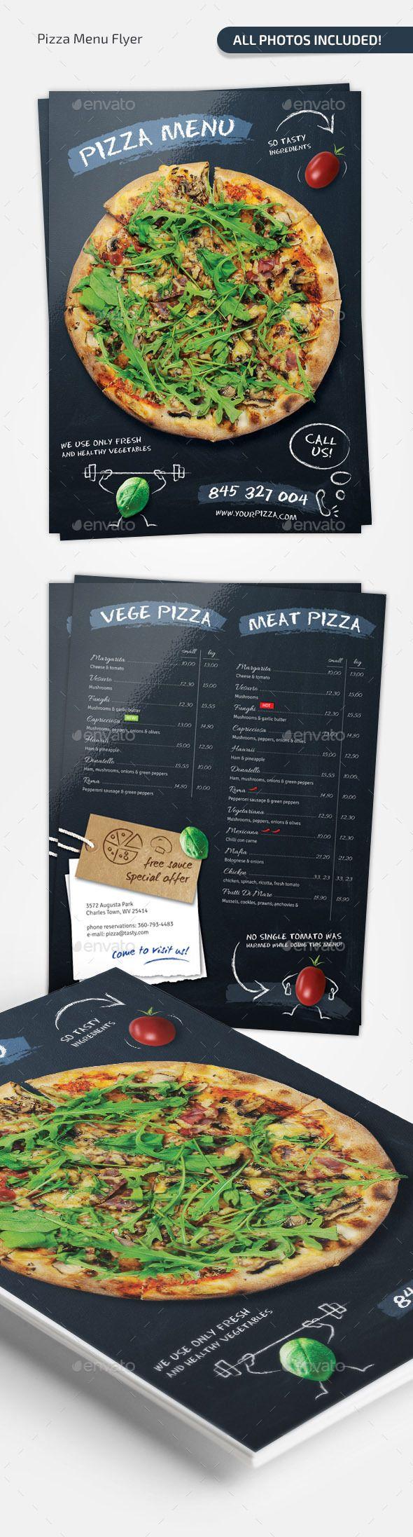 Pizza Chalkboard Menu Template #design Download: http://graphicriver.net/item/pizza-chalkboard-menu/11648273?ref=ksioks