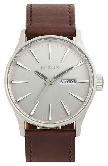 Nixon 'The Sentry' Leather Strap Watch, 42mm available at #Nordstrom Mark Wallrapp Birthday