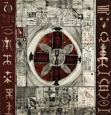 John Puhiatau Pule. 1994. Ko e heingoa e Matahiku ha tala au. lithograph, woodcutArtPropelled