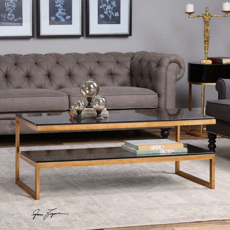 silver glass living room furniture%0A New Antique Gold Iron Coffee Cocktail Table Modern Smoke Gray Glass Top  Shelf   eBay
