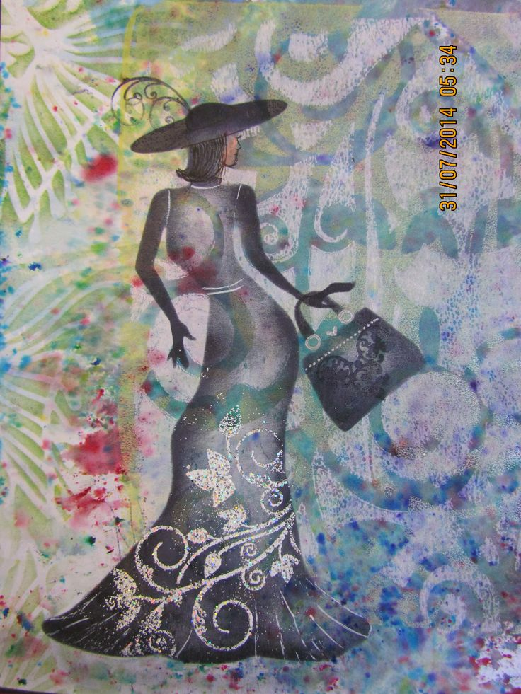 Gelli plate print using Clarity stencils and embossing powder on the leafy swirl stamp on her dress - Entered into the Catwalk competition set in July 2014