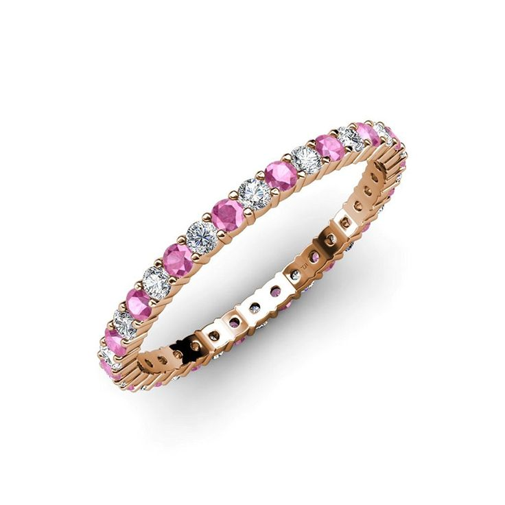 Pink Sapphire and Diamond Common Prong Eternity Band 0.77 ct tw to 0.98 ct tw in 14K Gold -- Startling review available here  : Wedding Rings Jewelry