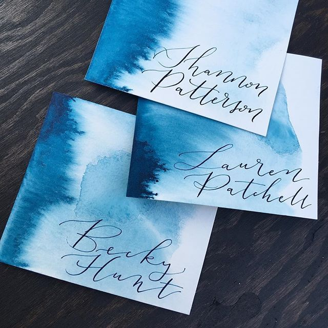 No filter needed for these beauties 💙 . . . . . . #watercolour #watercolor #placecards #placecard #indego #blue #navy #calligraphy #modernlettering #cursive #moderncalligraphy #lettering #calligritype #makersgonnamake #makersmovement #etsy #custom #weddingstationary #northernlights #simcoewedding #simcoecounty #cabincalligraphy #calligrapher #bluepumpkin #brausesteno #nib #ink #dippen #pointedpen