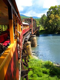 Great Smokey Mountains Railroad.  Way better than you would imagine. Scenery great in the Fall.