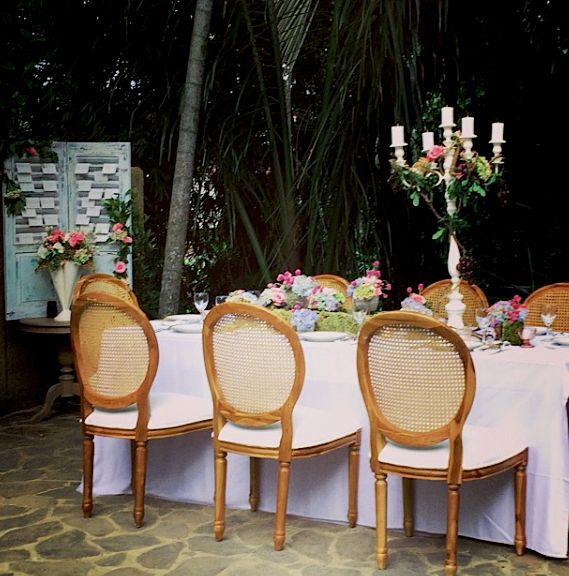 Our Cane-back chair and table set w/ @Bloomzflorist