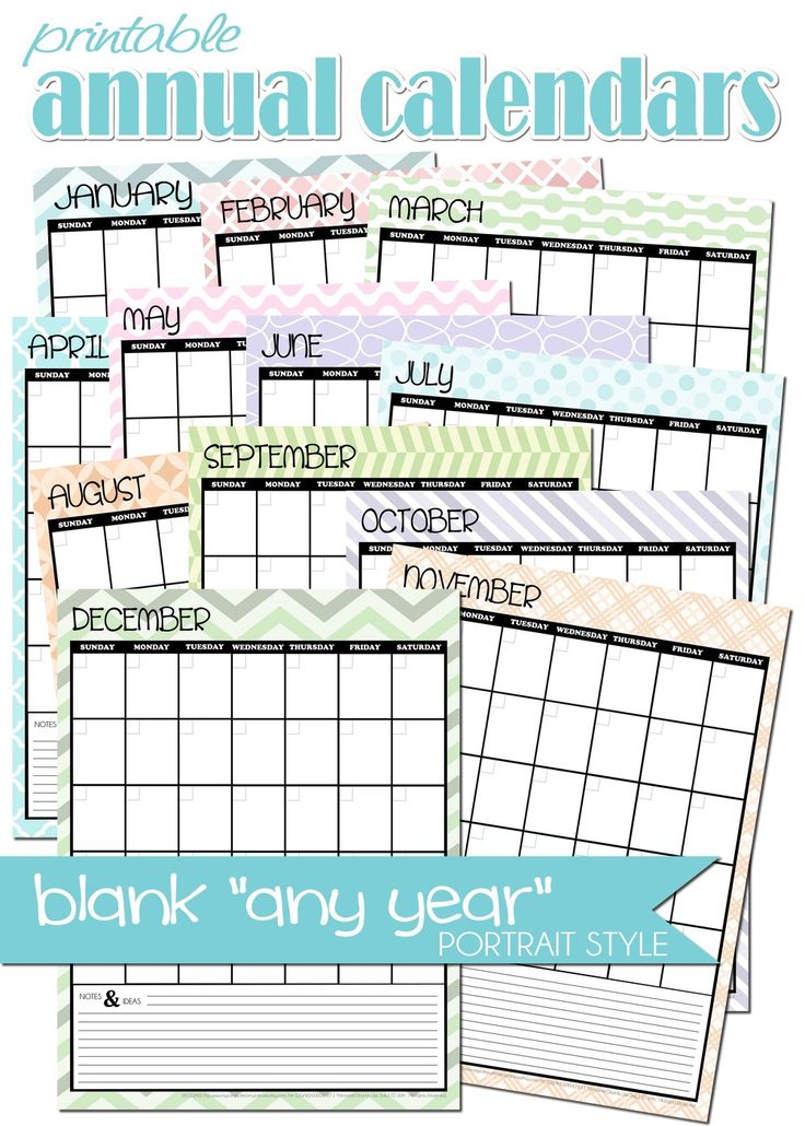 FREE PRINTABLE blank, any-year ANNUAL portrait style ...