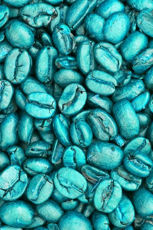 Turquoise coffee...love this. You can spray paint coffee any color you like and use it for filler in candle holders and dishes.