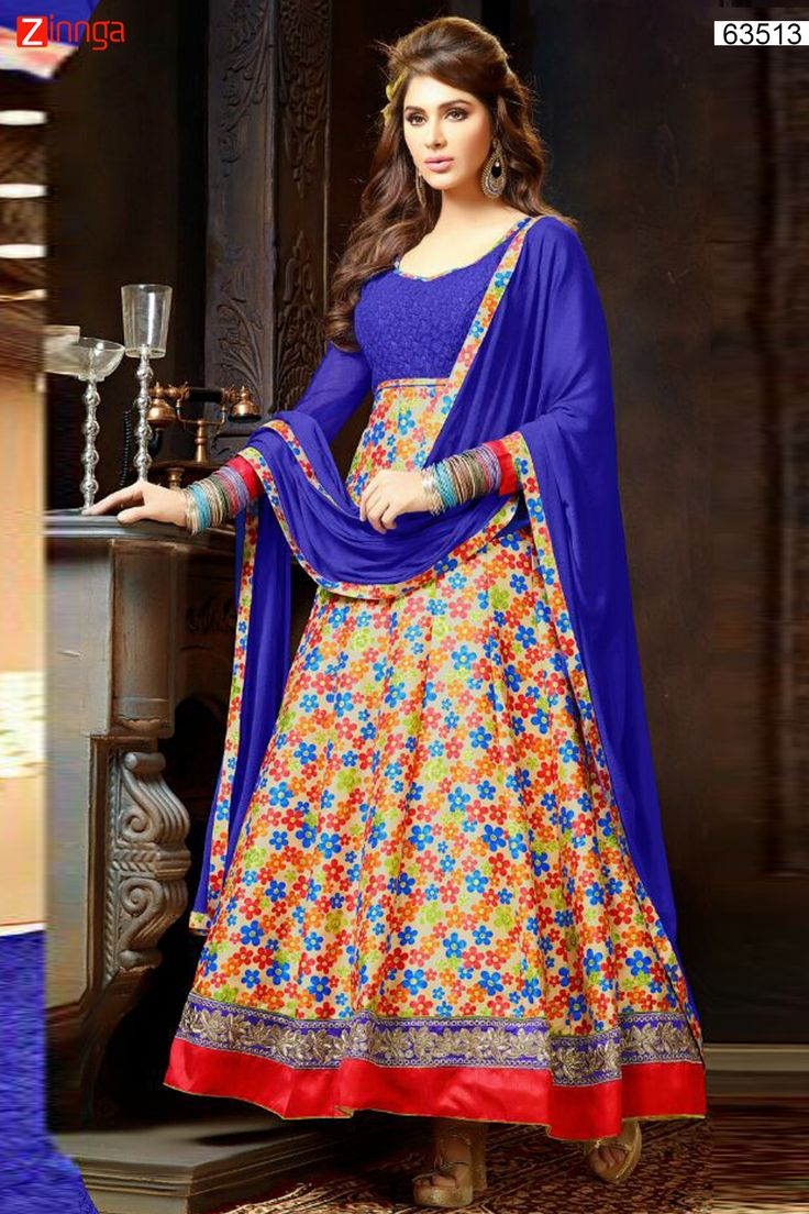 Anarkali Style Blue & Beige with Butta Work Incredible Unstitched Salwar Kameez. Message/call/WhatsApp at +91-9246261661 or Visit www.zinnga.com