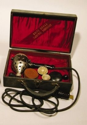 Early 20th Century Vibrator by White Cross: In the early 20th century, vaginal stimulation with vibratory devices for the treatment of female hysteria was a common & lucrative part of many physicians' office practices.