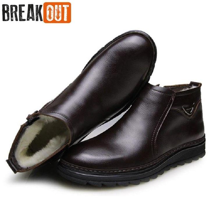 [Visit to Buy] Break Out New Men Winter Boots Men Snow Boots Warm Plush Zip Genuine Leather Quality Men Ankle Boots For Men Shoes #Advertisement