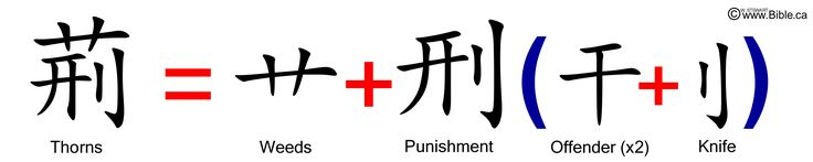 bible-evidences-chinese-language-characters-words-garden-of-eden-genesis-3-18-jing-thorns-weeds-punishment-knife-two-offenders.jpg (6000×1200)