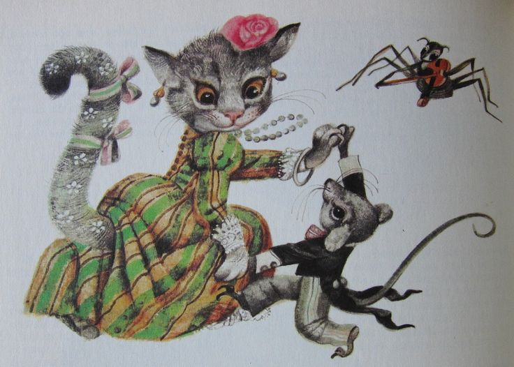 The Cat and the Mouse dance a jig. Karel Franta, Czech illustrator. Vintage illustration. Animal fairy stories.
