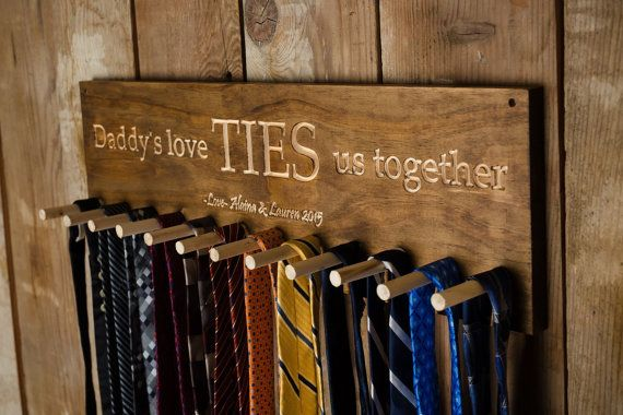 Would be great for Father's Day or Birthday gift. Daddy's Love TIES us together wooden tie by AlainasAdirondacks