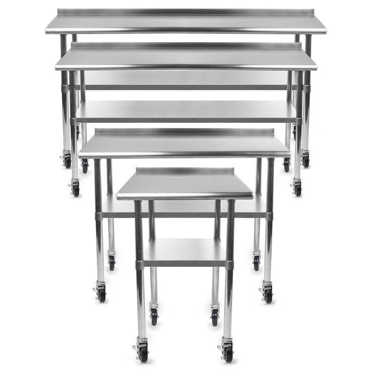 Gridmann NSF Stainless Steel Commercial Kitchen Prep & Work Table w/ Backsplash Plus 4 Casters (Wheels) - 36 in. x 24 in.