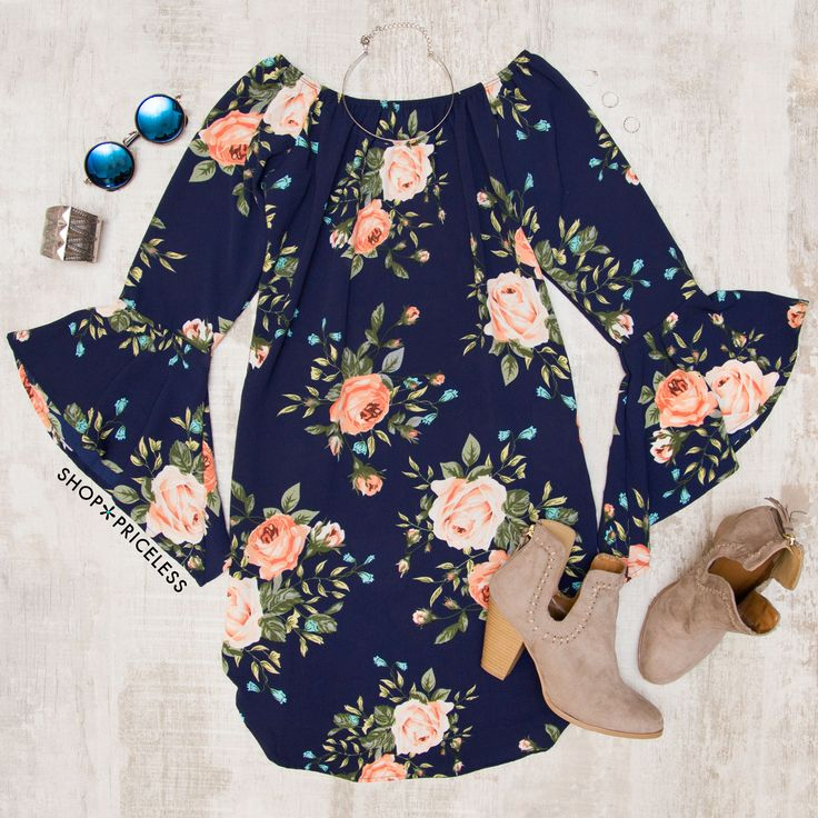 Just Dreamy Floral Dress - Navy