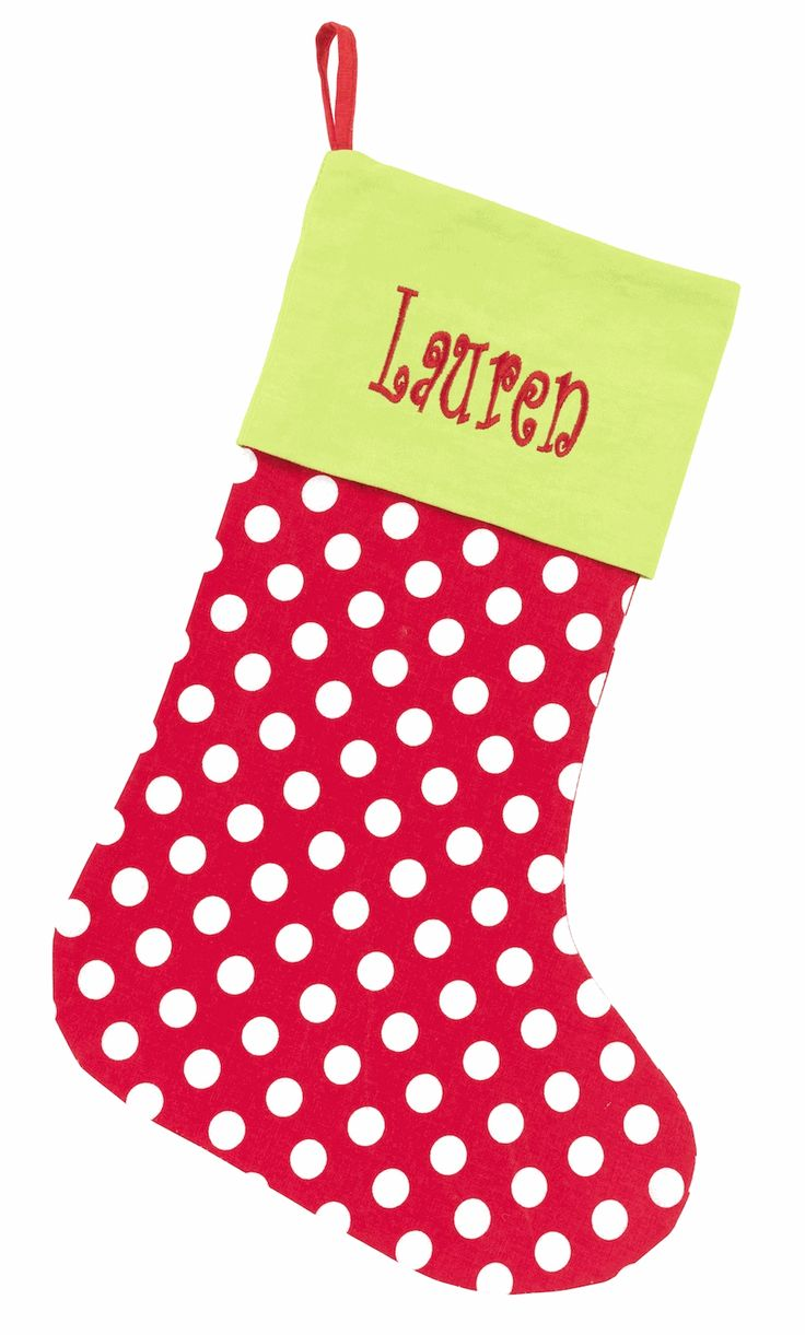 Christmas Stocking Craft Ideas Part - 50: MONOGRAMMED DOT CHRISTMAS STOCKING