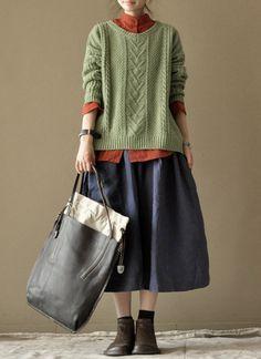 Spring Blue Long Skirts linen Chic Skirts Cotton Skirts Big Pockets Women's Skirt --Women Clothing