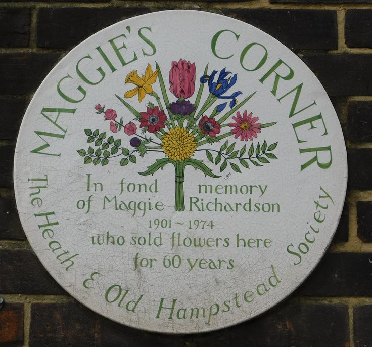 Memorial to flower seller Maggie Richardson on the corner of Willoughby Road, NW3