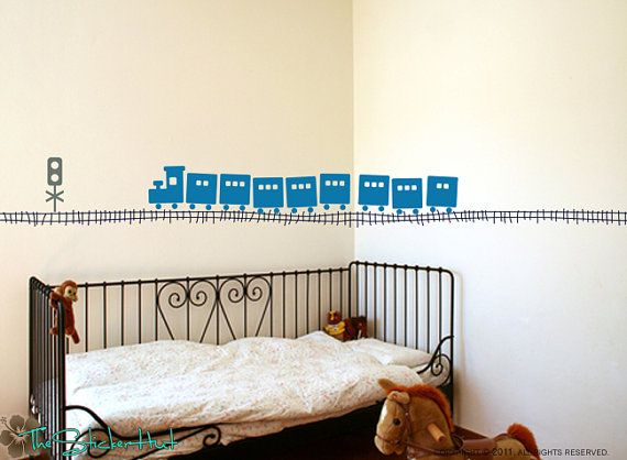 Large Train With Tracks Vinyl Wall Quote Saying Childrens Decor Vinyl  Lettering   Playroom Wall Decal Vinyl Wall Decal Stickers Decals 1219