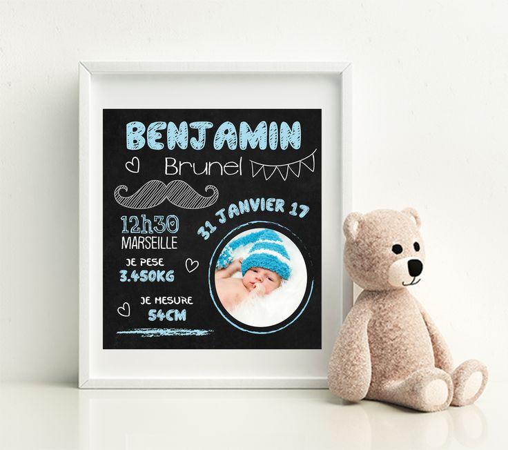 Immortalisez le souvenir de la naissance d'un enfant grâce à notre jolie affiche. Affiche effet tableau à la craie. Un cadeau de naissance original !
