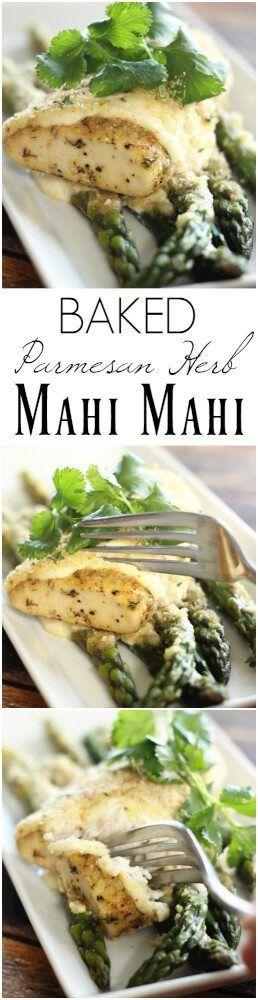 Parmesan Herb Baked Mahi Mahi is the best baked mahi mahi recipe EVER.. I would even go as far to say this the best FISH recipe ever. It is THAT good! #mahimahi #fish #parmesan #seafood